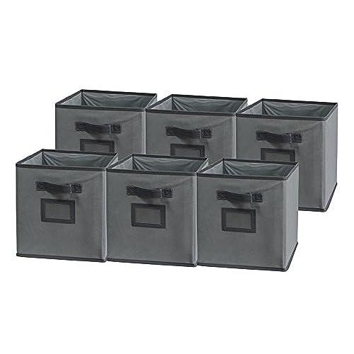 Sodynee Foldable Cloth Storage Cube Basket Bins Organizer Containers  Drawers, 6 Pack, Dark Grey/Grey