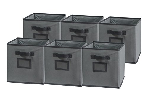 Sodynee Foldable Cloth Storage Cube Basket Bins Organizer Containers Drawers, 6 Pack, Dark Grey/Grey