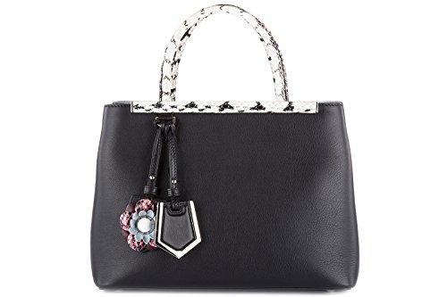 Fendi veau fiori en femme sac main à petite noir 2jours cuir dolce F1qFwrvC
