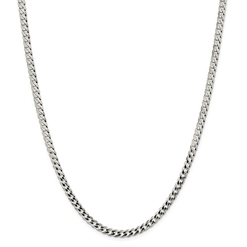 925 Sterling Silver 4.5mm Close Link Flat Curb Chain Necklace 24 Inch Pendant Charm Fine Jewelry Gifts For Women For Her ()