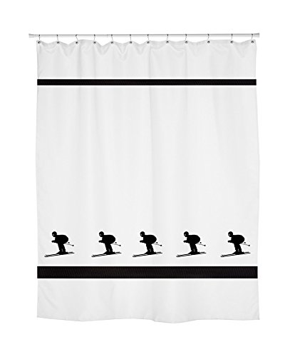 - Downhill Skier Skiing Shower Curtain - In Your Choice of Colors - Custom Made Bath Decor