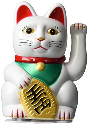 Happy Sales HSFC-WCW02, Maneki Neko Lucky Fortune Cat Waving Arm White]()