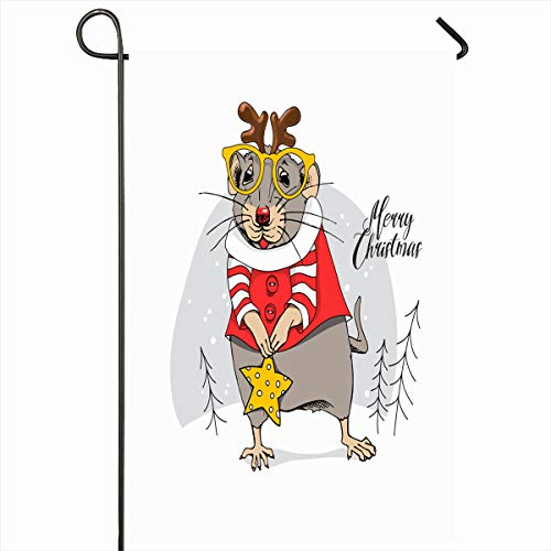 Ahawoso Garden Flag 12x18 Inches Star Character Little Mouse Santas Red Costume Festival Holidays Christmas Claus Cute Deer Design Outdoor Seasonal Home House Yard Sign Double Sides Printed Banner ()