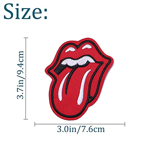 TACVEL Red Lips Embroidered DIY Sew on / Iron on Patches for Kids Clothing, Vest, Jackets, Backpacks, Caps, Jeans to Repair Holes / Logo