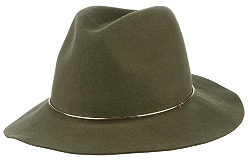 Brcus Adult Women Men Floopy Brim Panama Hat Fedora Hats Trilby Caps with Metal Hoop Olive