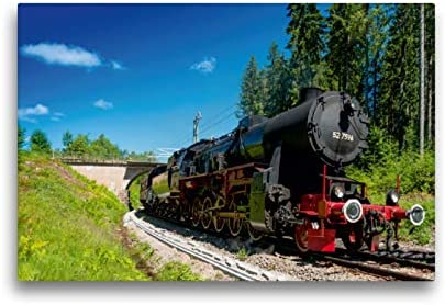 Premium Textil lienzo 45 cm x 30 cm horizontal, Dampflokomotive 52 7596 – Año 1944 – Imagen sobre bastidor, imagen sobre lienzo auténtico, impresión sobre lienzo, tecnología Calvendo