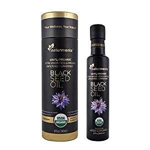 Pure Black Seed Oil. :: 100% USDA Certified Organic & Cold Pressed for Potency :: Non GMO, Vegan, Gluten Free, Cruelty Free Nigella Sativa Oil in Light Blocking Bottle by Naturments 8 oz.