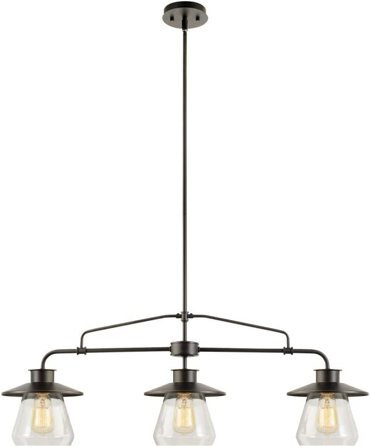 Nate 3-Light Pendant, Oil Rubbed Bronze, Clear Glass Shades, 64845 - -
