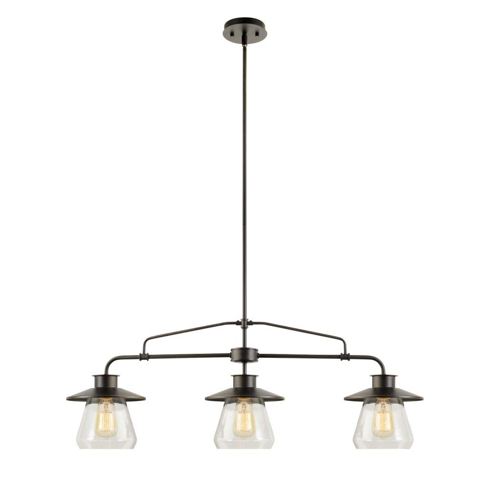 Globe Electric 64845 Nate 3-Light Pendant, Oil Rubbed Bronze, Clear Glass Shades by Globe Electric