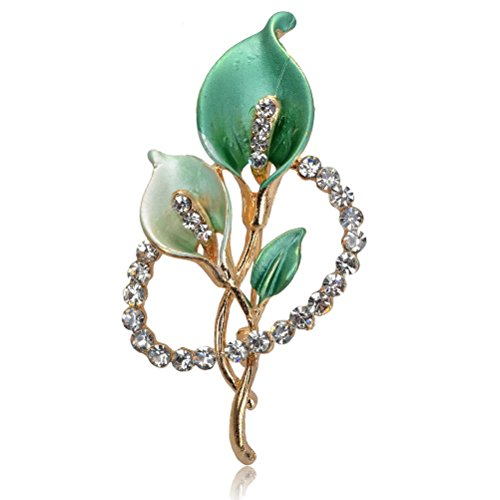 Green Womens Brooch - SUMAJU Pins Brooch, Gold Tone Crystal Bridal Bouquet Flower Brooches Pin Jewelry For Women Green