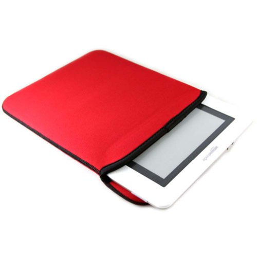 (Black/Red DX) Premium Neoprene Reversible Sleeve Case Book Cover for Amazon Kindle DX perfect fitted