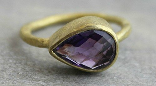 Purple Amethyst Gemstone Gold Plated Sterling Silver Ring, size 6