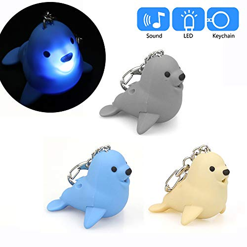 (Glumes Cute Animal Keychain with LED Flashlight and Sound Effects 3D Cute Cartoon Key Holder For Children Designer Key Ring for Kids Christmas Thanksgiving Gift 1 PCS (Seal, Blue))