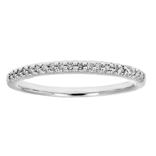 Petite Diamond Pave - 1/10 ctw Pave Petite Diamond Wedding Band in 10K White Gold In Size 7