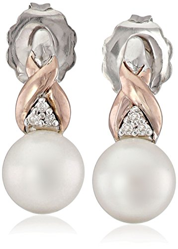 Sterling Silver and 14k Pink Gold Freshwater Cultured Pearl (6-6.5mm) and Diamond Earrings