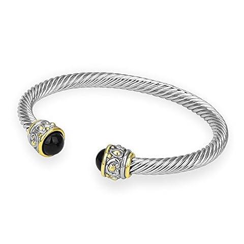 Bijoux Bobbi Women's Reconstituted Two Tone Rope Open Cuff Bangle - Onyx - BB0516KO - Onyx Stone Bangles
