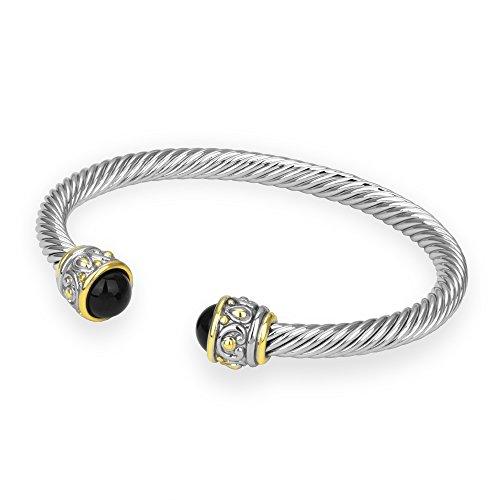 bijoux-bobbi-womens-reconstituted-two-tone-rope-open-cuff-bangle-onyx-bb0516ko