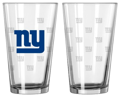 NFL Pint Glass Cup (Set of 2) NFL Team: New York - York Giants Beer New