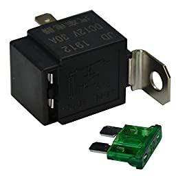 Ehdis Fused Relay On/Off 12V 30A Automotive 4-Pin Fuse Mounting Base Socket SPST Metal Normally Open Car Motor Automobile, Pack of 10