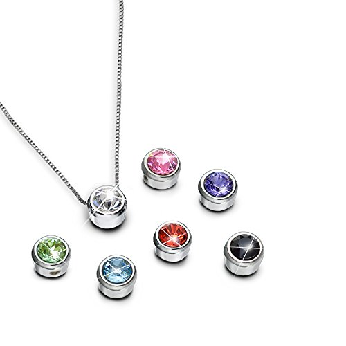 My Inspirations Presents Over 7 Looks in 1 Interchangeable Pendant Necklace with 7 Brightly Colored Swarovski Crystals, 18