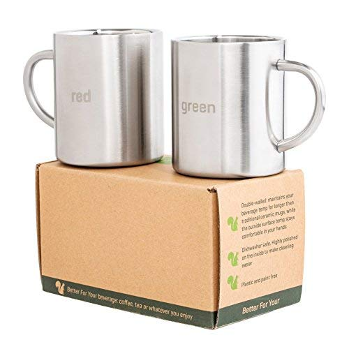 Coffee Mugs Stainless Steel - Double Wall - with Laser Words Red & Green -13.5oz - Metal Coffee Mug Tea Cups - with Round Handles - perfect for Home Camping RV Gift - Shatterproof Set of 2 ()