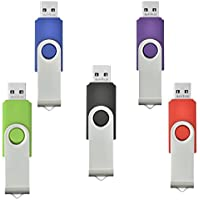 AreTop 5Pcs 8GB USB 2.0 Flash Drive Memory Stick Storage USB Drive 5 Pack(5mix color: Blue Green Black Red and Purple))