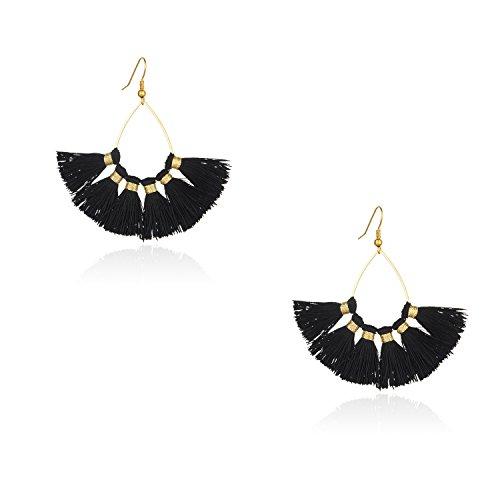 Tassel Earrings for Women - Bohemian Fan Tassel Drop Dangle Earrings,2018 New Design Black Fringe Earrings (Small)