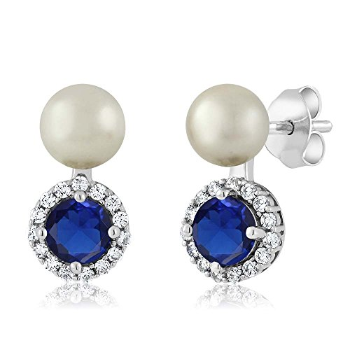 Gem Stone King 925 Sterling Silver Blue Simulated Sapphire and Cultured Freshwater Pearl Earrings ()