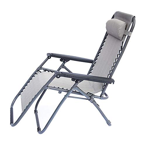 Limaomao Zero Gravity Chair Recliner Reclining Folding Deck Chair Office Chair Sun Lounger Garden Bed Headrest Zero Gravity Durable Strong for Lounge Sunbathing (Color : Gray, Size : 19768113) (Danny Deck Chair)