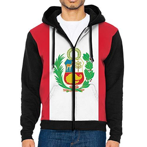 LRHUI Peru Flag Men's Full Zip Ultimate Performance Hooded Jacket Sweatshirt