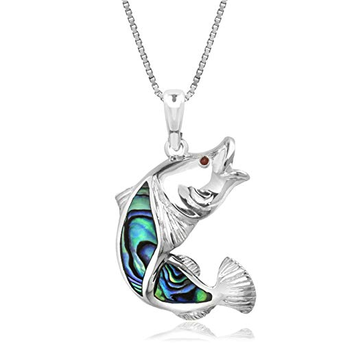 (Honolulu Jewelry Company Sterling Silver Abalone Paua Shell Fish Necklace Pendant with 18