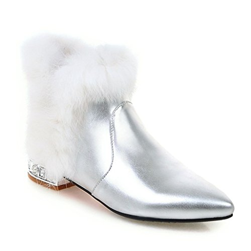Kaloosh Women's Synthetic Mixed Colors Pointed Toe and Block Heel Boots Silvery oEV4W5
