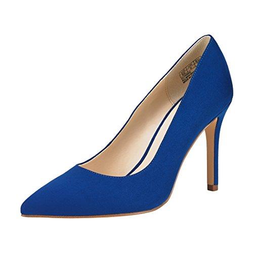 JENN ARDOR Stiletto High Heel Shoes For Women: Pointed, Closed Toe Classic Slip On Dress Pump,Blue,6 B(M) US (Cobalt Blue High Heels)