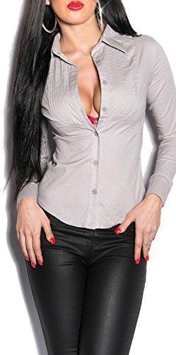 KouCla A-3019 �?Blusa entallada, talla S �?XXL en 8 colores gris