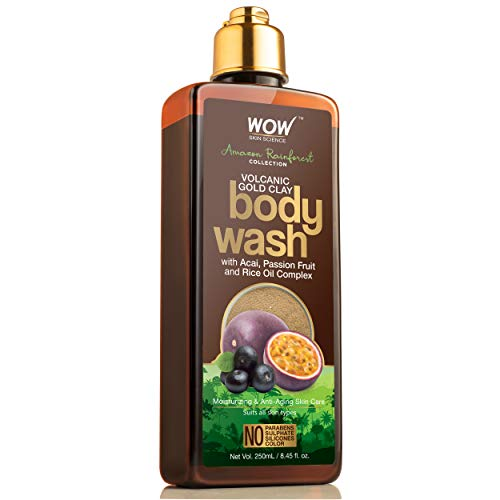 LD WOW Skin Science Amazon Rainforest Collection Volcanic Gold Clay Shower Gel with Acai Passion Fruit Rice Oil Complex 300 mL
