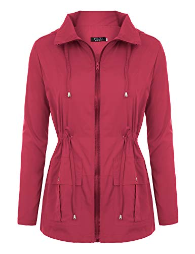(FISOUL Women Rain Jackets Waterproof with Hood Lightweight Raincoat with Pockets Outdoor Windbreaker Red M)