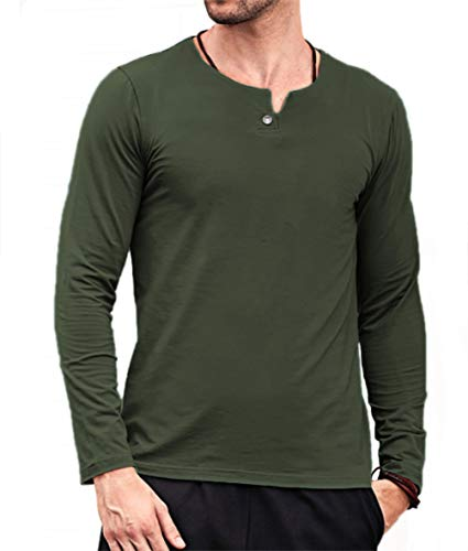 Aiyino Mens Summer Casual Slim Fit Single Button Short Sleeve Placket Plain Henley Top T Shirts (Medium, Long Sleeve Army (Army Long Sleeve Tee)