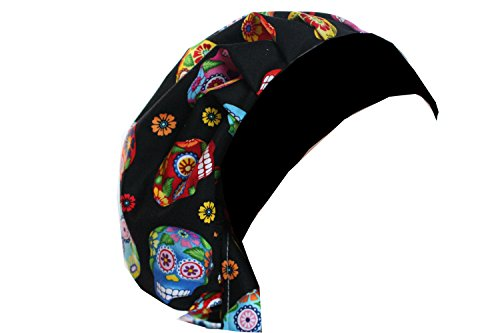 Scrub Hat Chemo Cap Bouffant Style MANY Color Options Available (Black Cantina Skull) Style Skull Cap