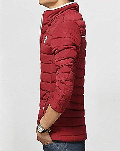Mieuid Maniche Colletto Cappotto Tasche Laterali Uomo Cappotti Lunghe Chic Winered Giacche Parka Giacca Da A Jacket Trapuntato Invernale Warm Corta A4gxaqArw1