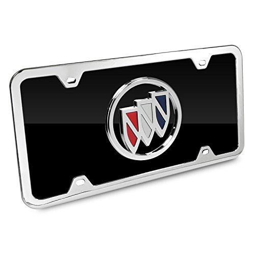 - Au-Tomotive Gold, INC. Buick Color Logo Black Acrylic License Plate with Chrome Frame Kit