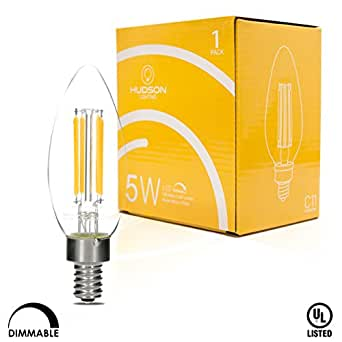 Hudson Lighting Dimmable LED Candelabra Bulb- 1 PACK- UL Listed- 4 Watt- 400 Lumen- E12 Led Bulbs Base- 2700K- Indoor or Outdoor