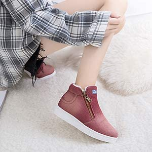 Xianv Warm Winter Boots Women Denim Jeans Boots Snow Classic hoch obere Round Toe Casual Shoes Sneakers