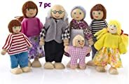 Hand Puppets Wooden Doll Dollhouse 7 Pack Family Role Toys Play House Puppets
