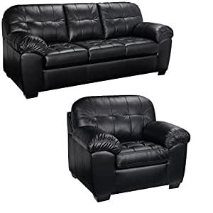 Black Italian Leather Sofa and Chair Set - This Living Room Furniture Set Is Elegant and Modern. This Sofas Leather Is Durable Not Found in a Furniture Store. Get This Contemporary, Modern Couch
