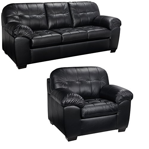 Black Italian Leather Sofa and Chair Set – This Living Room Furniture Set is Elegant and Modern. This Sofas Leather is Durable Not Found in a Furniture Store. Get This Contemporary, Modern Couch For Sale