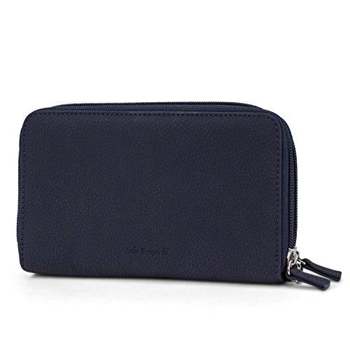 Mundi Double Zip Vegan Leather Womens RFID Clutch Wallet With Wristlet Strap (Navy) by Mundi (Image #3)