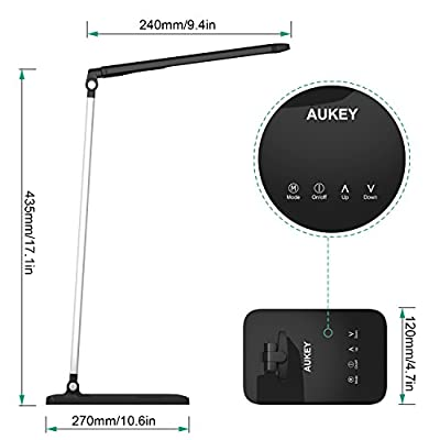 AUKEY LED Desk Lamp, Eye-Care Table Lamps with Studying, Reading and Relaxing 3 Modes, 5 Level Dimmer, Aluminum Alloy Arm, Touch Sensor Control