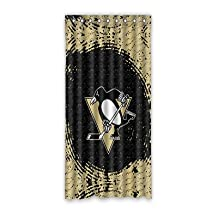 "Custom Pittsburgh Penguins Polyester Soft Washable Anti-static Window Curtain 52""x108"" (one piece)"