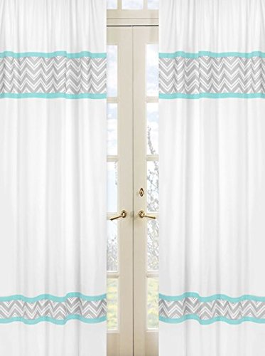 Sweet Jojo Designs 2-Piece Turquoise and Gray Chevron Zig Zag Window Treatment Panels (And Gray Baby Turquoise Bedding)