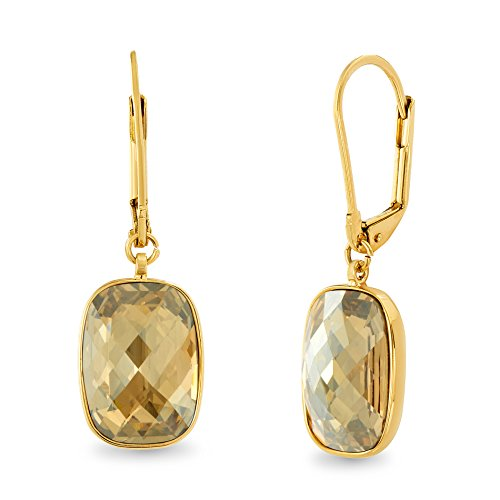 Colorado Crystal Lever Back Earrings - Devin Rose Womens Rectangular Faceted Cushion Leverback Earrings Made With Swarovski Crystals in Yellow Gold Plated Brass (Color Light Colorado Topaz)
